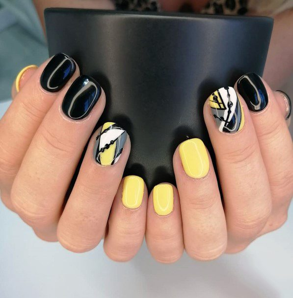 Sunny Yellow And Black Nails For Women