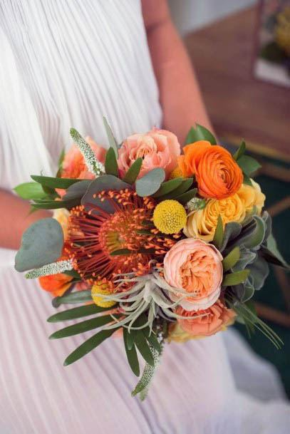 Sunrise Colored August Wedding Flowers