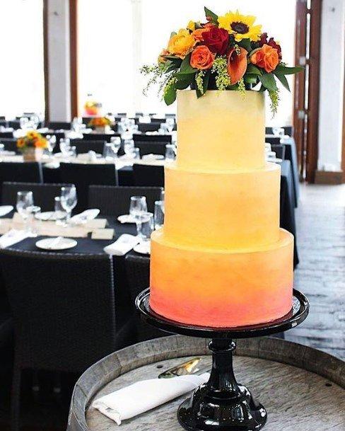 Sunrise Themed Womens Wedding Cake With Sunflowers