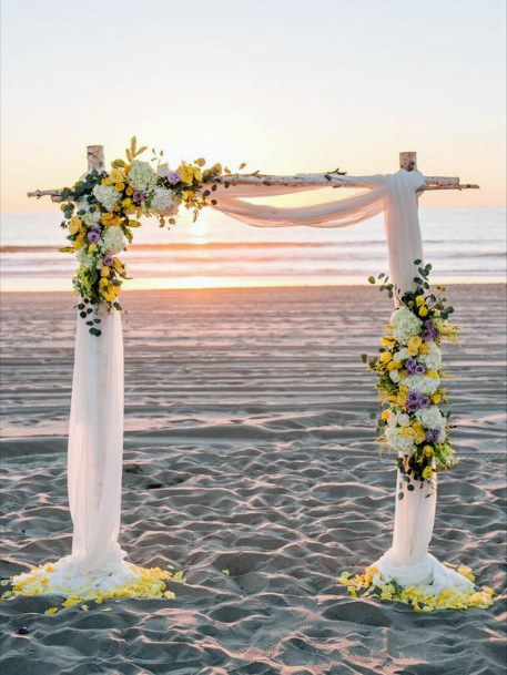 Sunset Beach Yellow Flowers Arch