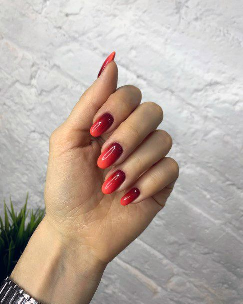 Sunset Ombre Shellac Nails For Women