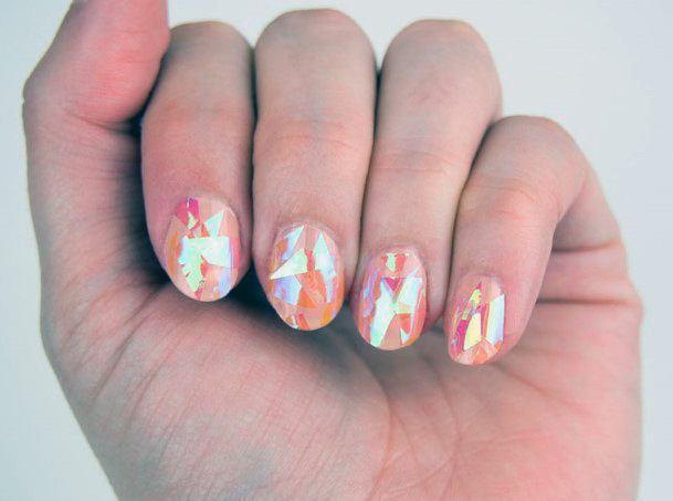 Sunset Orange Glass Nails For Women