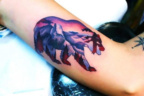 Sunset Purple Sky Bear Womens Tattoo