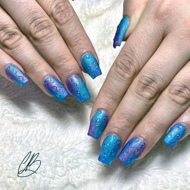Super Blue Water Nails Women
