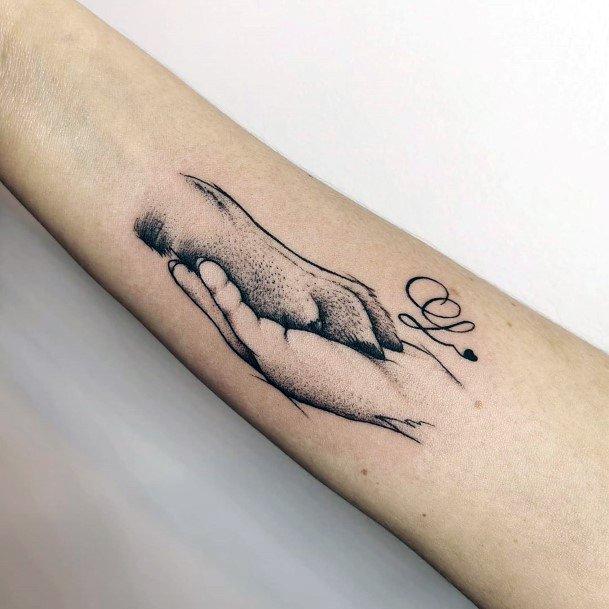 Sweet Dog Hand Shake Tattoo Womens Art