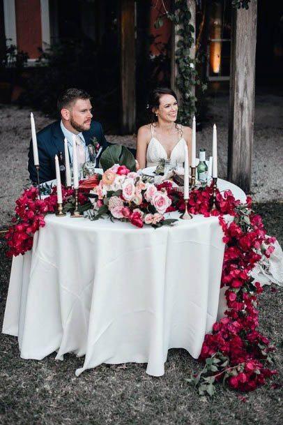 Sweet Heart Table Red Wedding Flowers