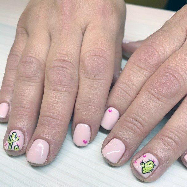Sweet Love Cactus Nails Women