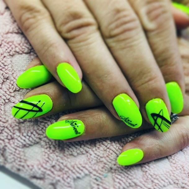 Sweet Neon Green Nails