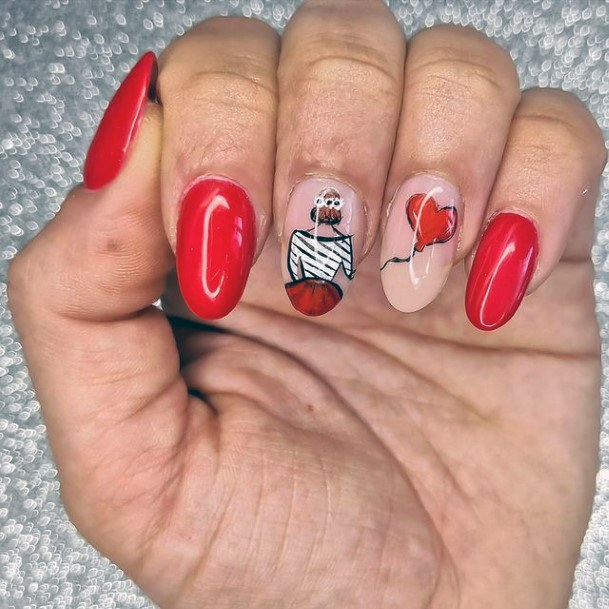 Sweet Red Romantic Nails Women