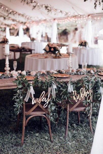 Sweetheart Table Greenery Garland Chair Decor Rustic Wedding Ideas