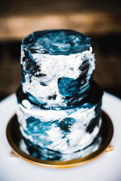 Swirls Of Blue And White Wedding Cake