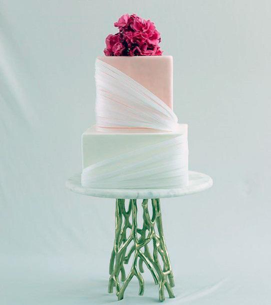 Swirls Of Cream Square Wedding Cake