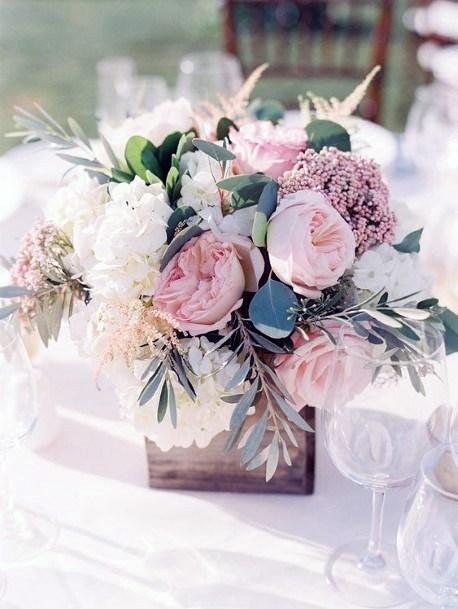 Table Decor Blush Flowers Wedding
