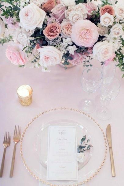 Table Decor Blush Rose Flowers Wedding