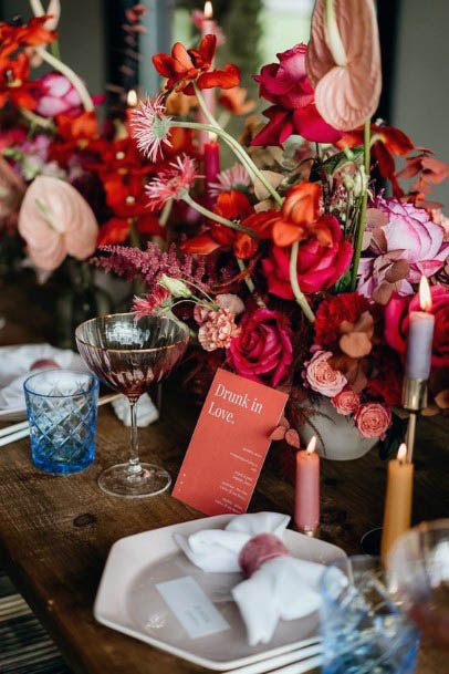Table Decor Red Wedding Flowers