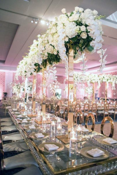Table Decor Wedding White Flowers Indian