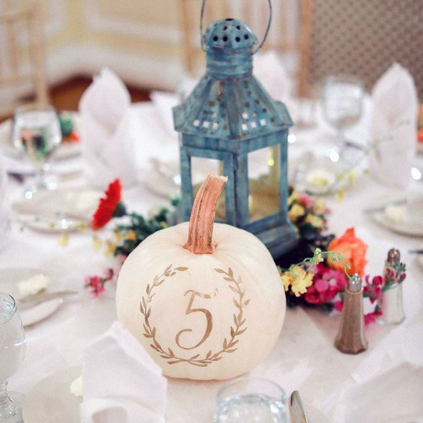 Table Number White With Gold Pumpkins Decor Fall Wedding Ideas