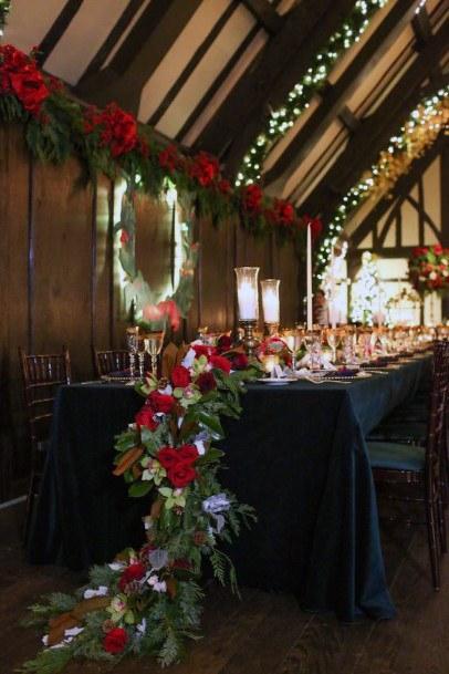 Table Runner Christmas Wedding Flowers