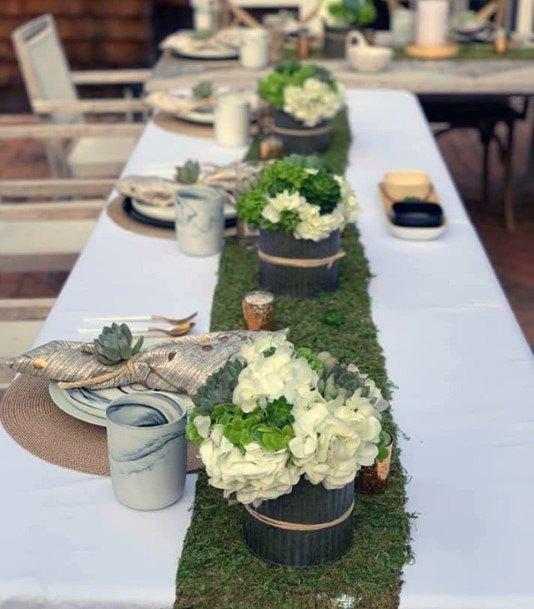 Table Runner Green Hydrangea Wedding Flowers