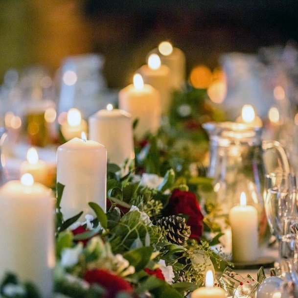 Table Runner Greens And Flowers Christmas Wedding And White Candles Lit