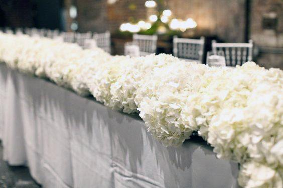 Table Runner With White Hydrangea Garland Flowers Wedding
