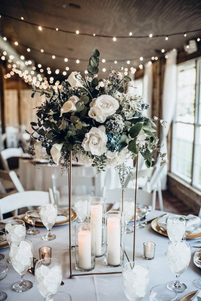 Tall Flower Stand With Candles Wedding Centerpiece Ideas