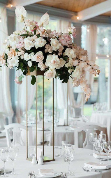 Tall Metal Flowers Wedding Centerpiece Ideas
