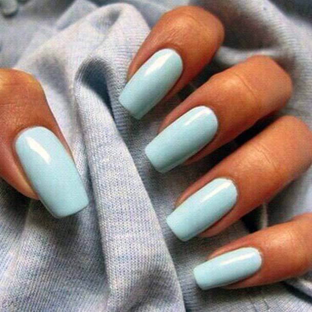 Teal Bright Blue Nails For Women