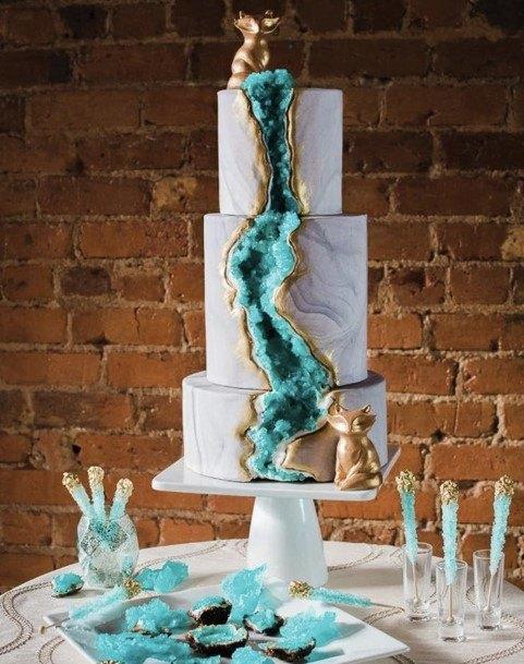 Teal Geode Wedding Cake Ideas