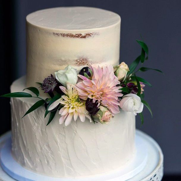 Tectured White Two Tiered Fall Wedding Cake With Flowers Women Art