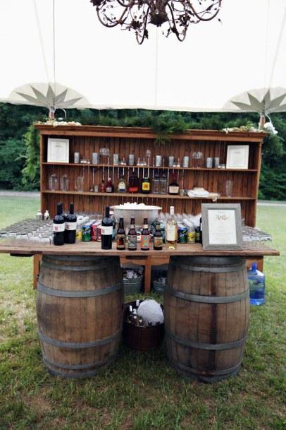Temporary Bar Setup Bookshelf Backyard Wedding Ideas