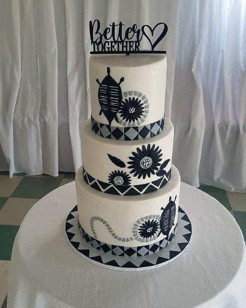 Tempting Black Art Work On White 3 Tier Wedding Cake Women