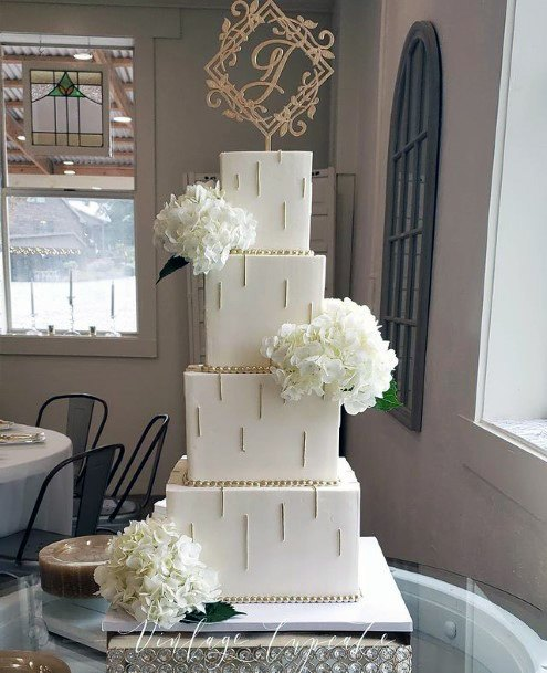 Tempting White Square Wedding Cake