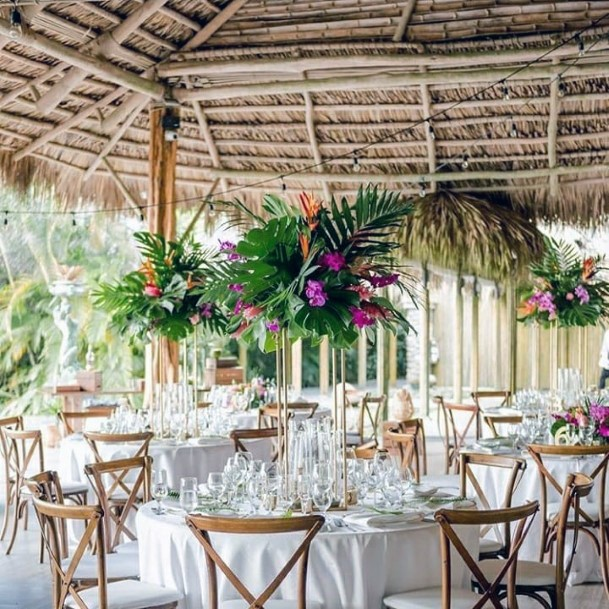 Tented Wedding Hall With Tropical Flowers