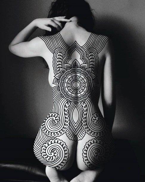 Terrific Tribal Black Colored Tattoo Womens Full Back