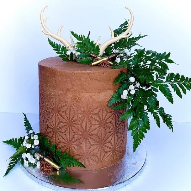 Textured Floral Wall Chocolate Country Wedding Cake