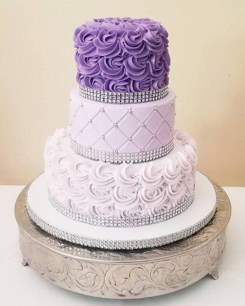 Textured Three Tiered Purple Wedding Cake