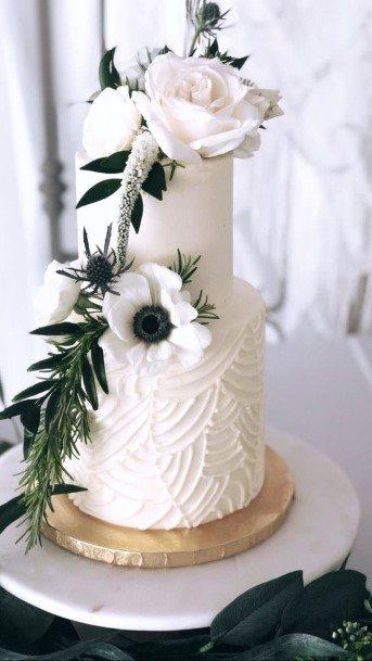 Textured Walls White Buttercream Wedding Cake