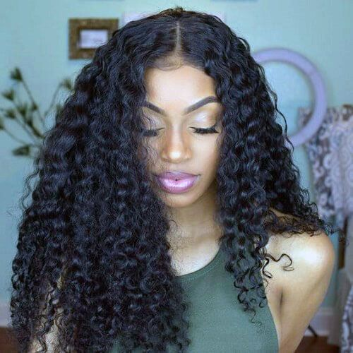 Thick Afro Curled Centered Part Hairstyle For Women