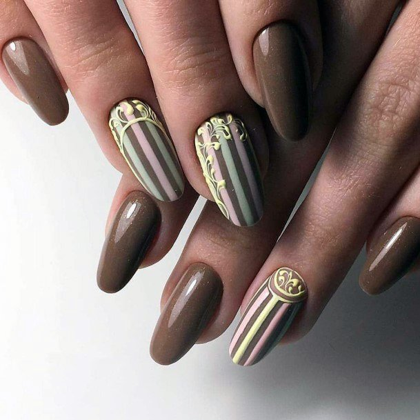 Thick Brown Chocolate Nails With Wrapper Art On Nails For Women