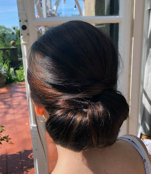 Thick Dark Brown Chignon Hairstyle Women