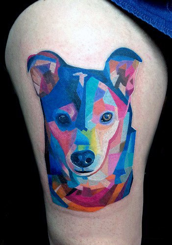 Thighs Tattoo Womens Blue Dog