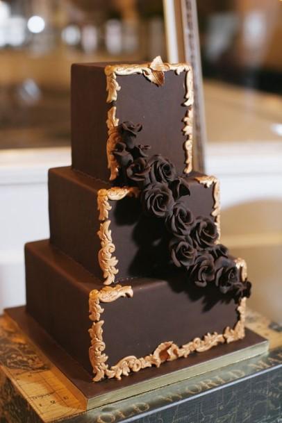 Three Cubic Layer Chocolate Wedding Cake