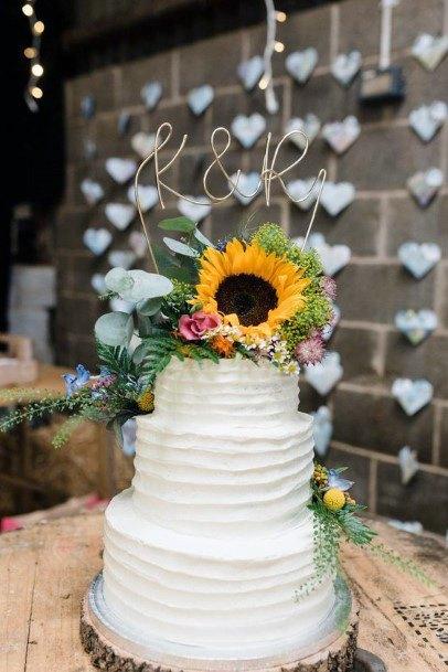 Three Level Circular Wedding Cake Women Sunflower