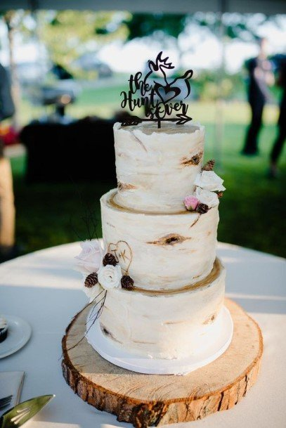 Three Level Rustic White Wedding Cake Toppers