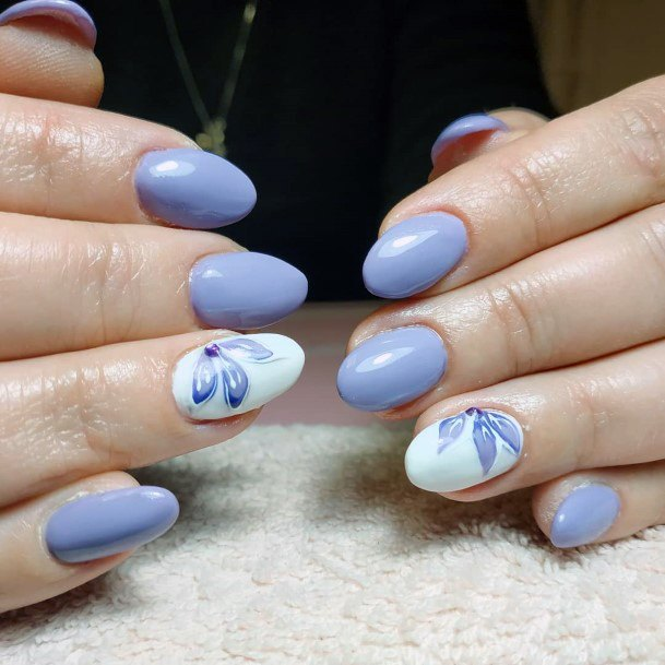 Three Petalled Orchids On Blue Gray Nails