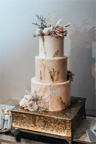 Three Tiered Gold And White Wedding Cake