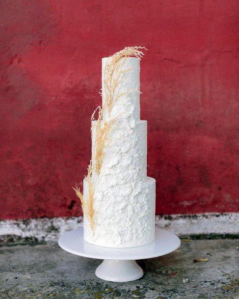 Three Tiered Laced White Elegant Wedding Cake For Women Art