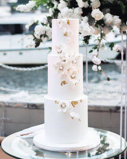 Three Tiered Smooth White Beautiful Wedding Cake