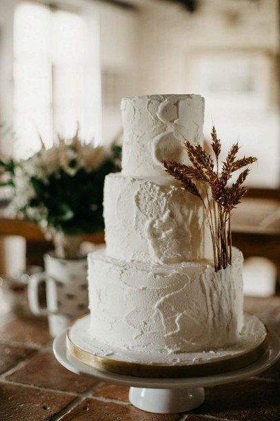 Three Tiered Snowy White Wedding Cake
